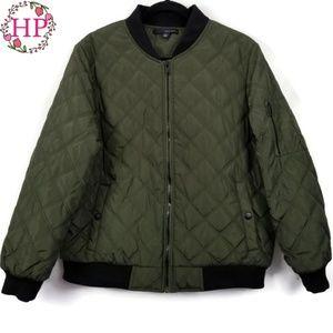 Knit Trim Diamond Quilt Bomber Jacket